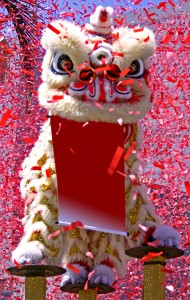 A festive lion dance during a Chinese New Year parade.